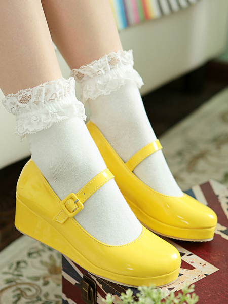 Milanoo Sweet Lolita Shoes Wedge Round Toe Patent PU Lolita Pumps