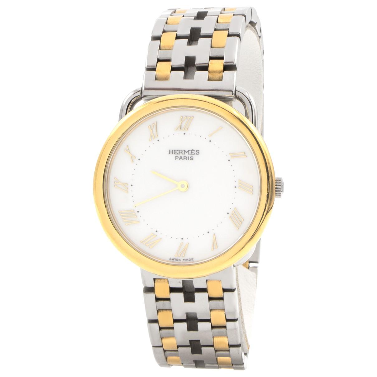 Hermes Arceau Uhr in  Silber Gold und Stahl