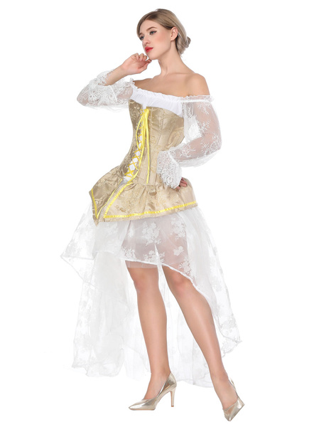 Milanoo Gothic Costume Halloween Yellow Vintage Asymmetrical Skirt And Corset