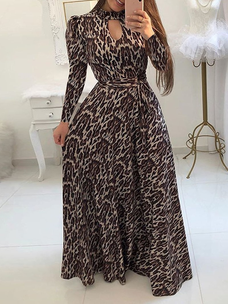 Ericdress Floor-Length Long Sleeve Print A-Line Pullover Dress