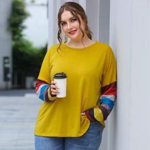 Camiseta amplia de manga de color combinado