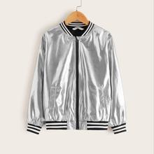 Girls Contrast Striped Trim Metallic Bomber Jacket