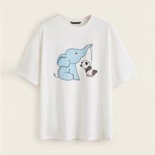 Drop Shoulder Elephant and Panda Print Top