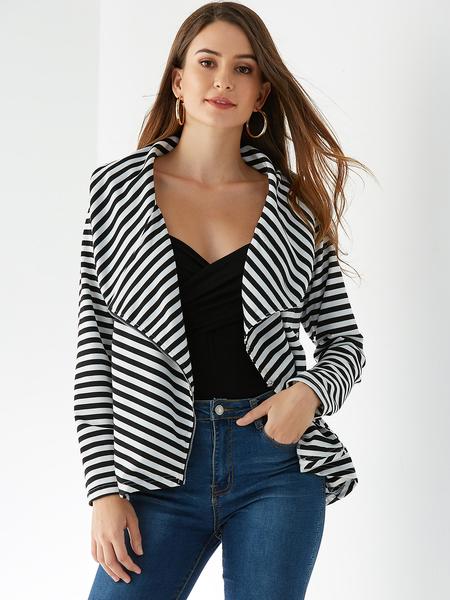 Yoins Black Stripe Open Front Zip Long Sleeves Blazer