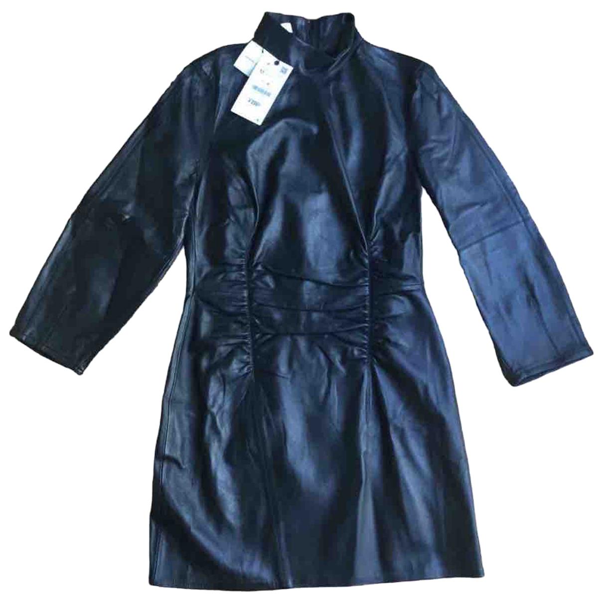 Zara - Robe   pour femme en cuir - noir
