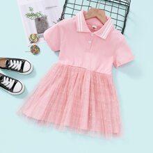Toddler Girls Polo Neck Mesh Panel Dress
