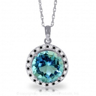 8.00 Carat 14K Solid Gold Black / White Diamonds & Blue Topaz Necklace (16 Inch - White)