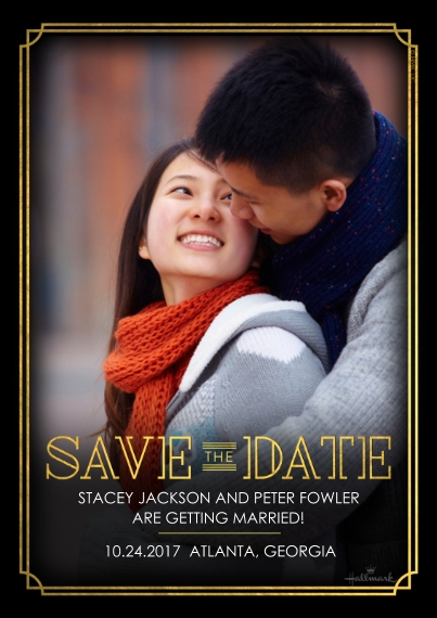 Save the Date 5x7 Cards, Premium Cardstock 120lb with Rounded Corners, Card & Stationery -Gilt Deco Save the Date