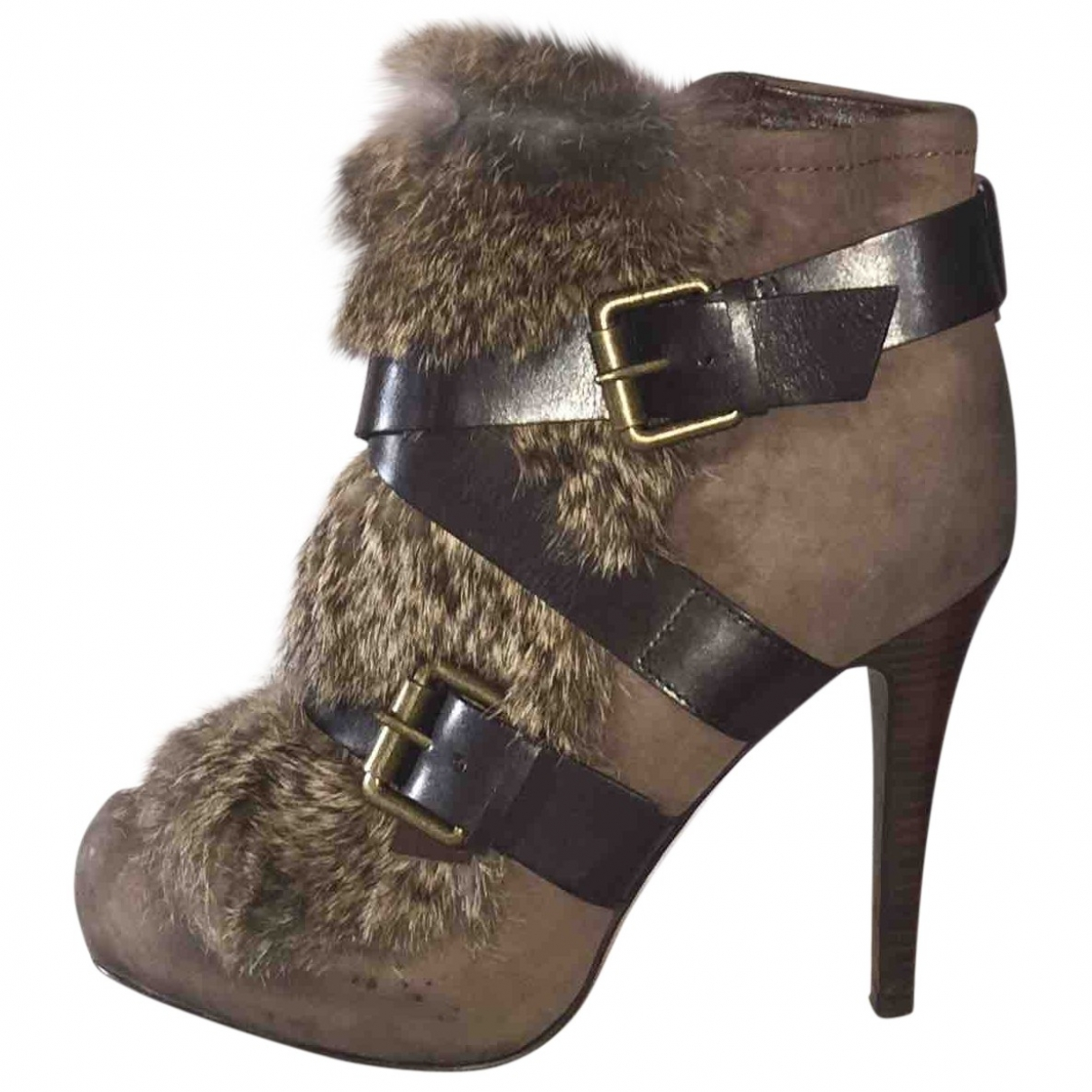 Ash - Boots   pour femme en lapin - marron