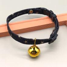 1 Stueck Katze Halsband mit Stern Muster und Glocken Dekor
