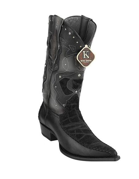 Men's King Exotic Embroidered Elephant Skin Handcrafted Black Boots