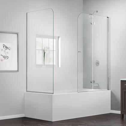 SHDR-3636580-RT-01 Aqua Fold 56-60 In. W X 30 In. D X 58 In. H Frameless Bi-Fold Tub Door With Return Panel In