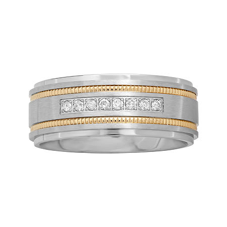 Mens Two-Tone Stainless Steel 1/7 CT. T.W. Diamond Wedding Band, 8 1/2 , No Color Family