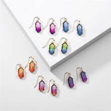 6 Paare Ohrringe mit bunten Geo Dekor