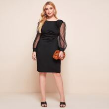 Plus Contrast Mesh Sleeve Ruched Fitted Dress