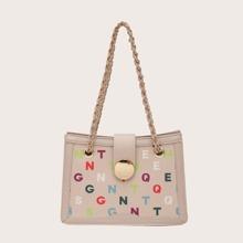 Colorful Letter Graphic Shoulder Bag