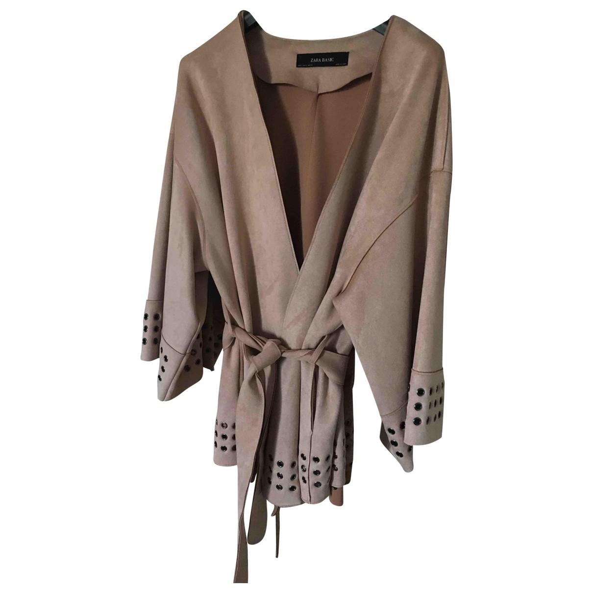 Zara - Veste   pour femme en suede - rose
