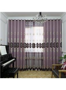 Europe Type Sitting Dark Pink Hand-made Embroider Blackout Grommet Curtain