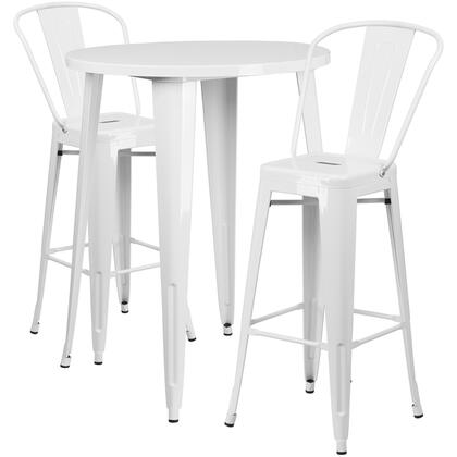 CH51090BH Collection CH-51090BH-2-30CAFE-WH-GG Indoor-Outdoor Bar Table Set with 2 Curved Back Cafe Stools  30