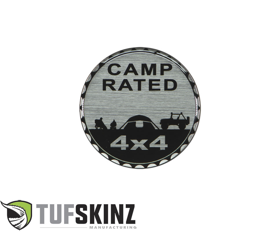Tufskinz JEX059-DUM-011-G Rated Badge Fits Jeep 1 Piece Kit in Brushed Silver Camp Rated