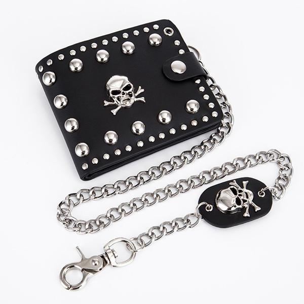 Men Faux Leather Hip-Hop Solid Skull Head Chain Wallet