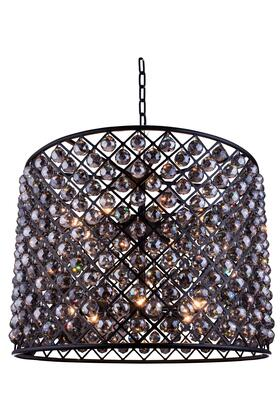 1206D35MB-SS/RC 1206 Madison Collection Pendent Lamp D: 35.5 H: 28 Lt: 12 Mocha Brown Finish (Royal Cut Silver Shade