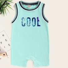 Baby Boy Letter Graphic Contrast Binding Romper