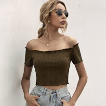 Frill Trim Rib-Knit Bardot Top