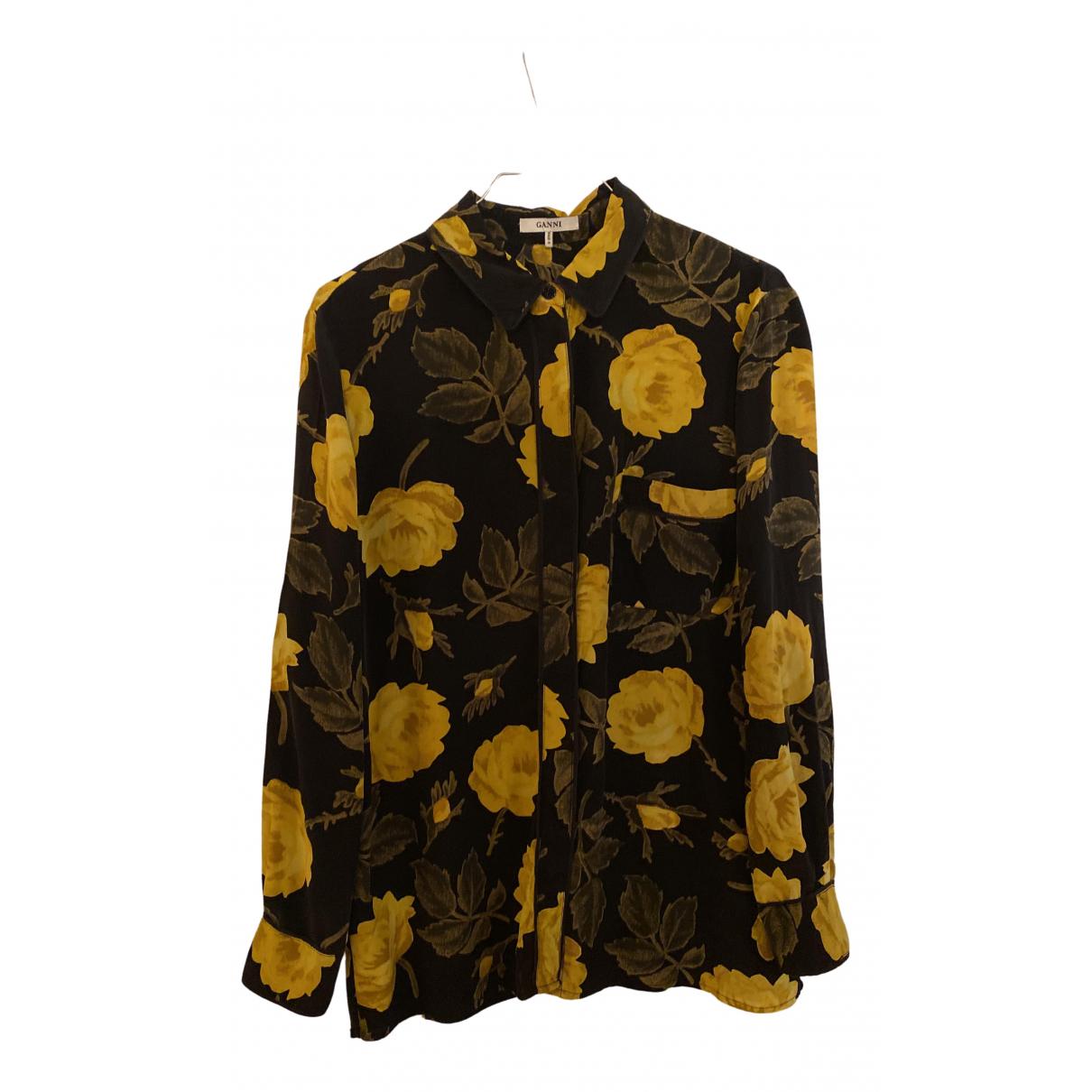 Ganni - Top   pour femme en soie - jaune