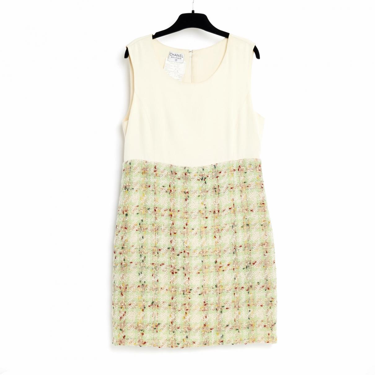 Chanel - Robe   pour femme en tweed - ecru