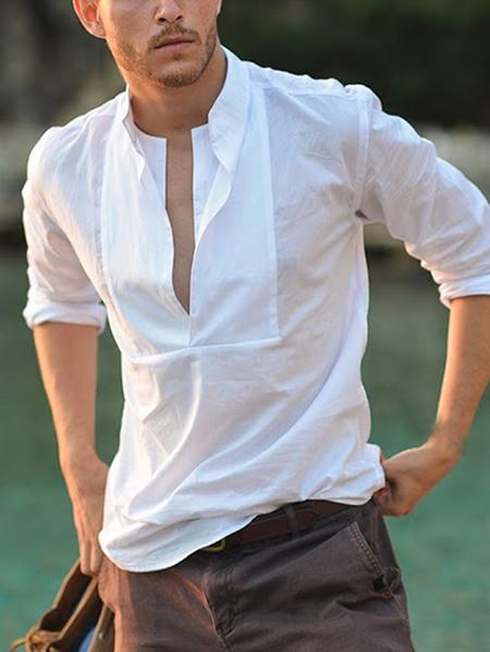 Yoins INCERUN Men White V-neck Chest Cut Out Shirt