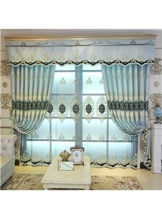 European Style Noble and Elegant Embroidered Custom Blue Sheer Curtain for Living Room Bedroom