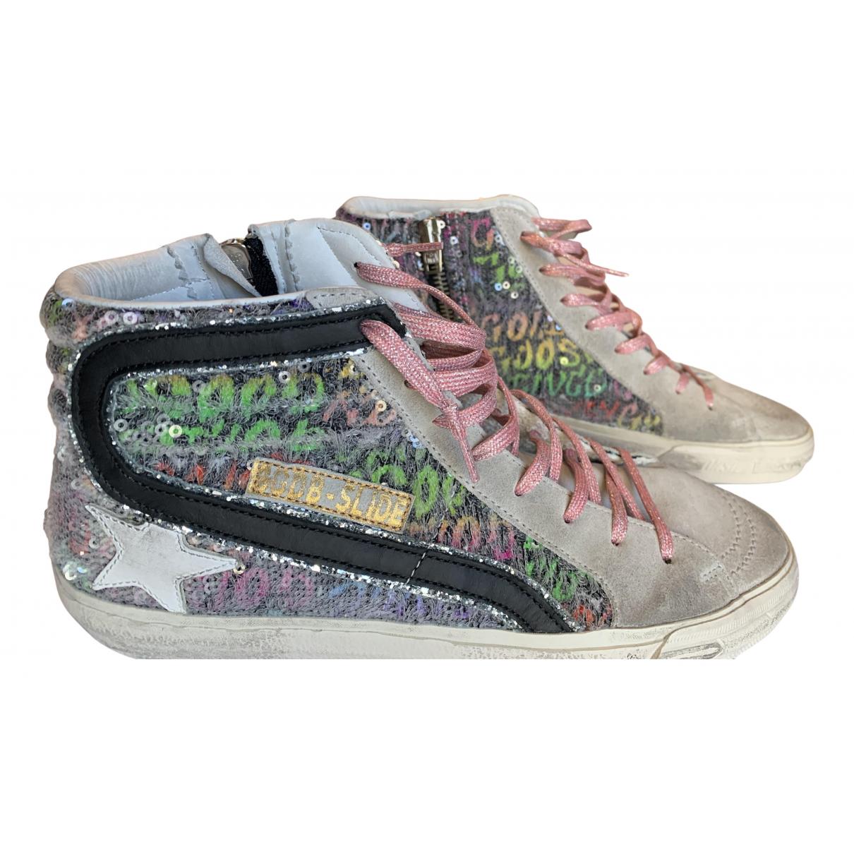 Golden Goose Slide Sneakers in  Bunt Veloursleder