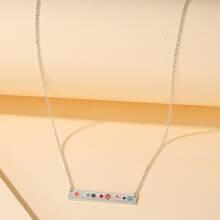 Girls Planet Pattern Bar Necklace