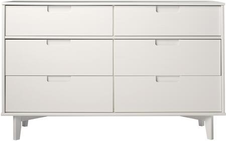 BR6DSLDRWH 6-Drawer Groove Handle Wood Dresser in