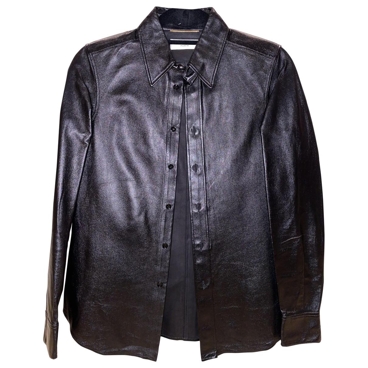 Saint Laurent - Top   pour femme en cuir - noir