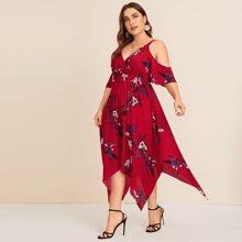 Plus Cold Shoulder Floral Print Asymmetrical Hem Dress