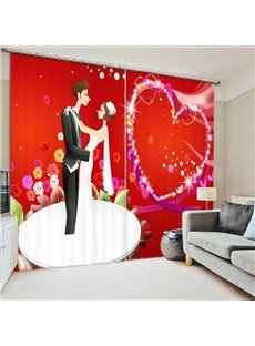 Cartoon Lover Dancing 3D Printed Polyester Curtain