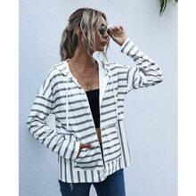 Striped Print Drawstring Zip Up Hooded Sweatshirt
