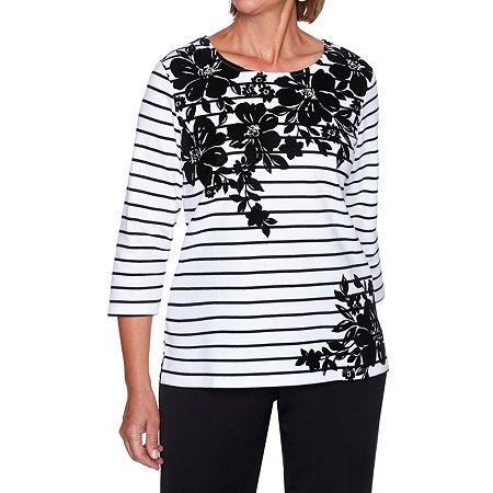Alfred Dunner Modern Living-Womens Crew Neck 3/4 Sleeve T-Shirt, X-large , Black