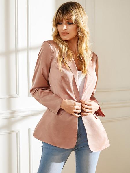 YOINS Pink Long Sleeves Pocket Design Blazer