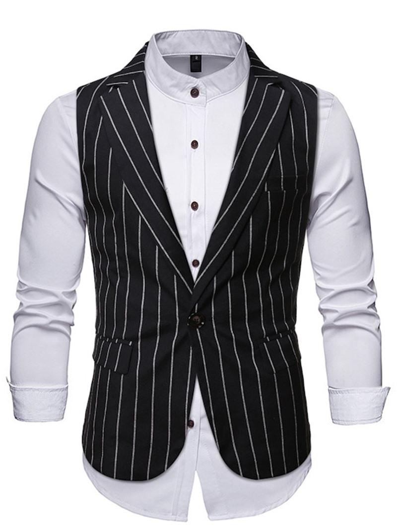 Ericdress Notched Lapel Stripe OL One Button Waistcoat