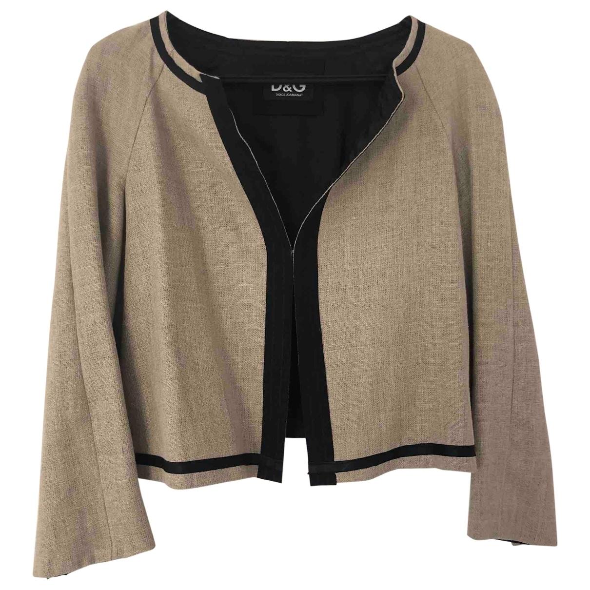 D&g \N Beige Linen jacket for Women 44 IT