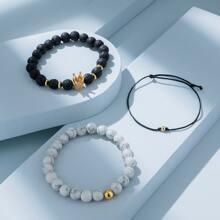 3pcs Men Bead Decor Bracelet