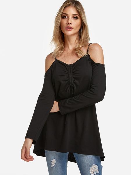Yoins Black Lace-up Details Cold Shoulder Long Sleeves T-shirt