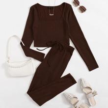 Square Neck Rib-knit Top & Knot Waist Leggings Set