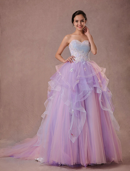Milanoo Ulle consolidaron vestido encaje rebordear vestido de Quinceañera-vestido de novia sin tirantes de princesa de lujo vestido de
