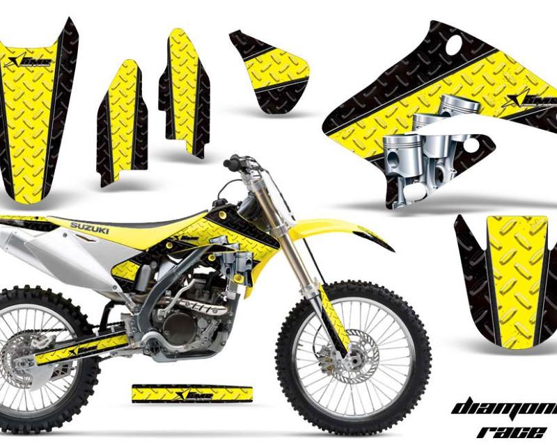 AMR Racing Dirt Bike Graphics Kit Decal Sticker Wrap For Suzuki RMZ250 2004-2006áDIAMOND RACE YELLOW BLACK