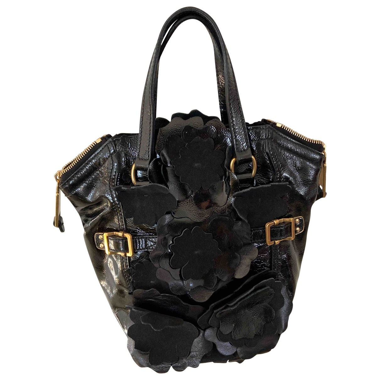 Yves Saint Laurent Downtown Handtasche in  Schwarz Lackleder