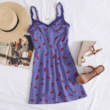 Frill Trim Cherry Print Cami Dress